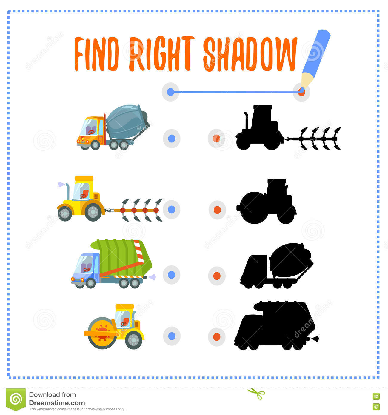 Preschool Game With Vehicles And Shadows Stock Vector