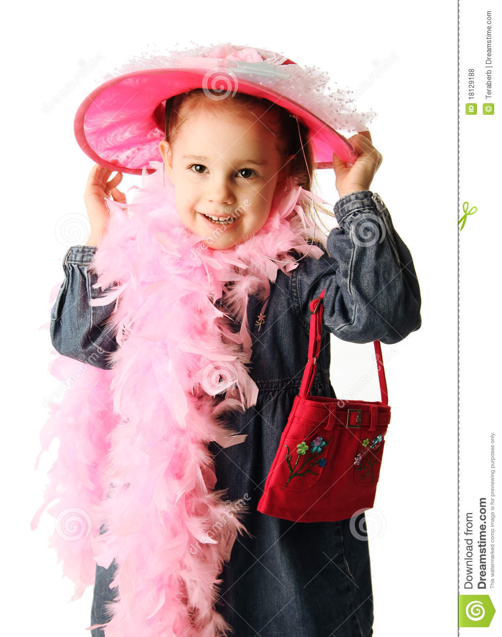 Preschool Girl Playing Dress Up Stock Photo
