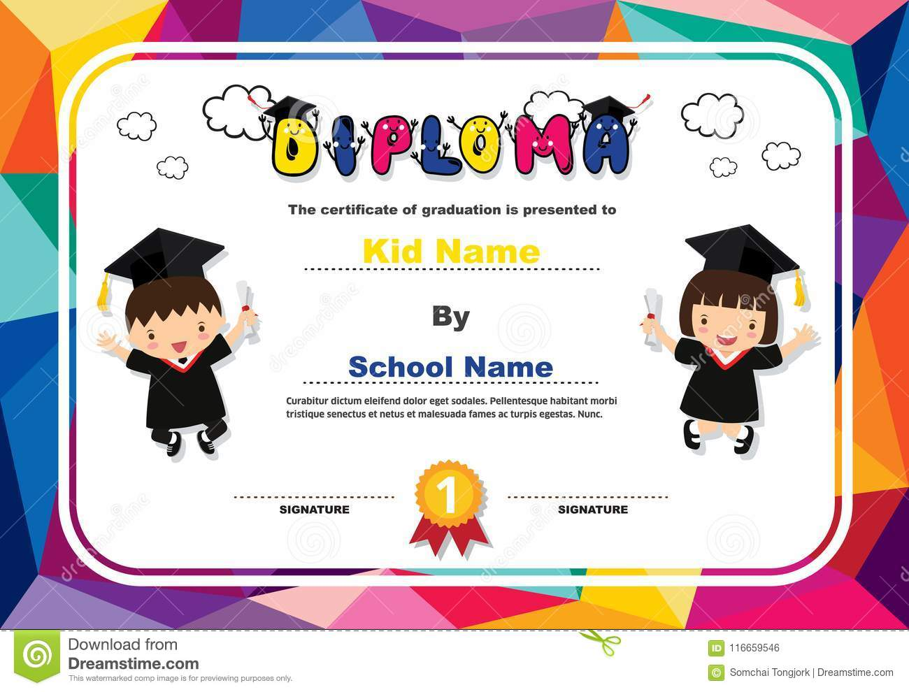 Preschool Kids Diploma Certificate Colorful Background