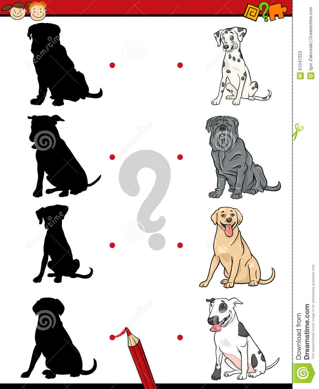 Preschool Shadow Task With Dogs Stock Vector