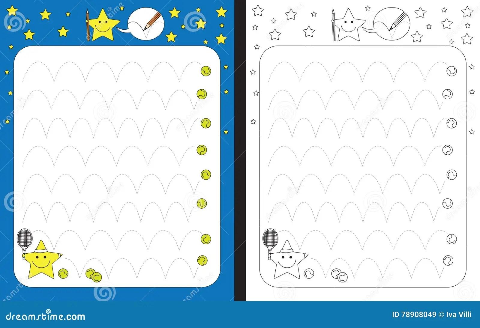 Preschool Worksheet For Practicing Fine Motor Skills Stock