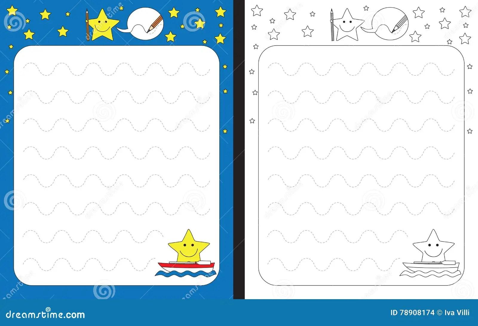 Preschool Worksheet Vector Illustration