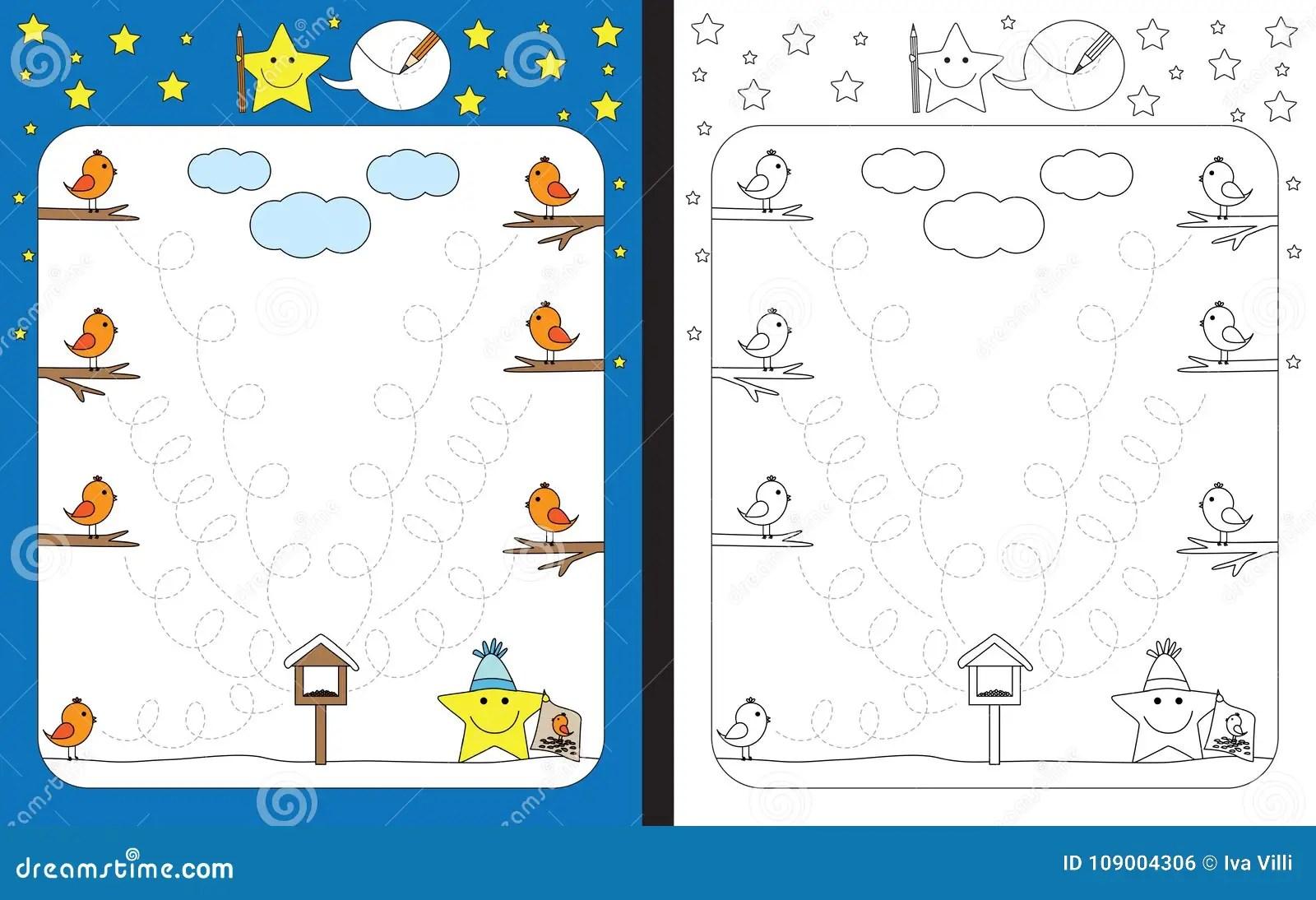 Preschool Worksheet Stock Vector Illustration Of Bird