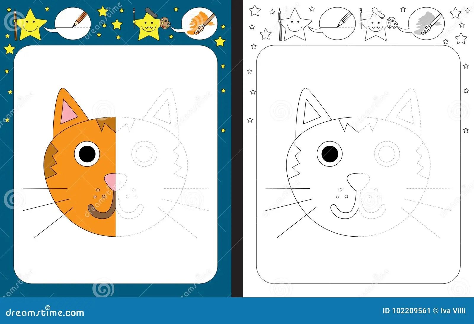 Preschool Worksheet Stock Vector Illustration Of Symmetry
