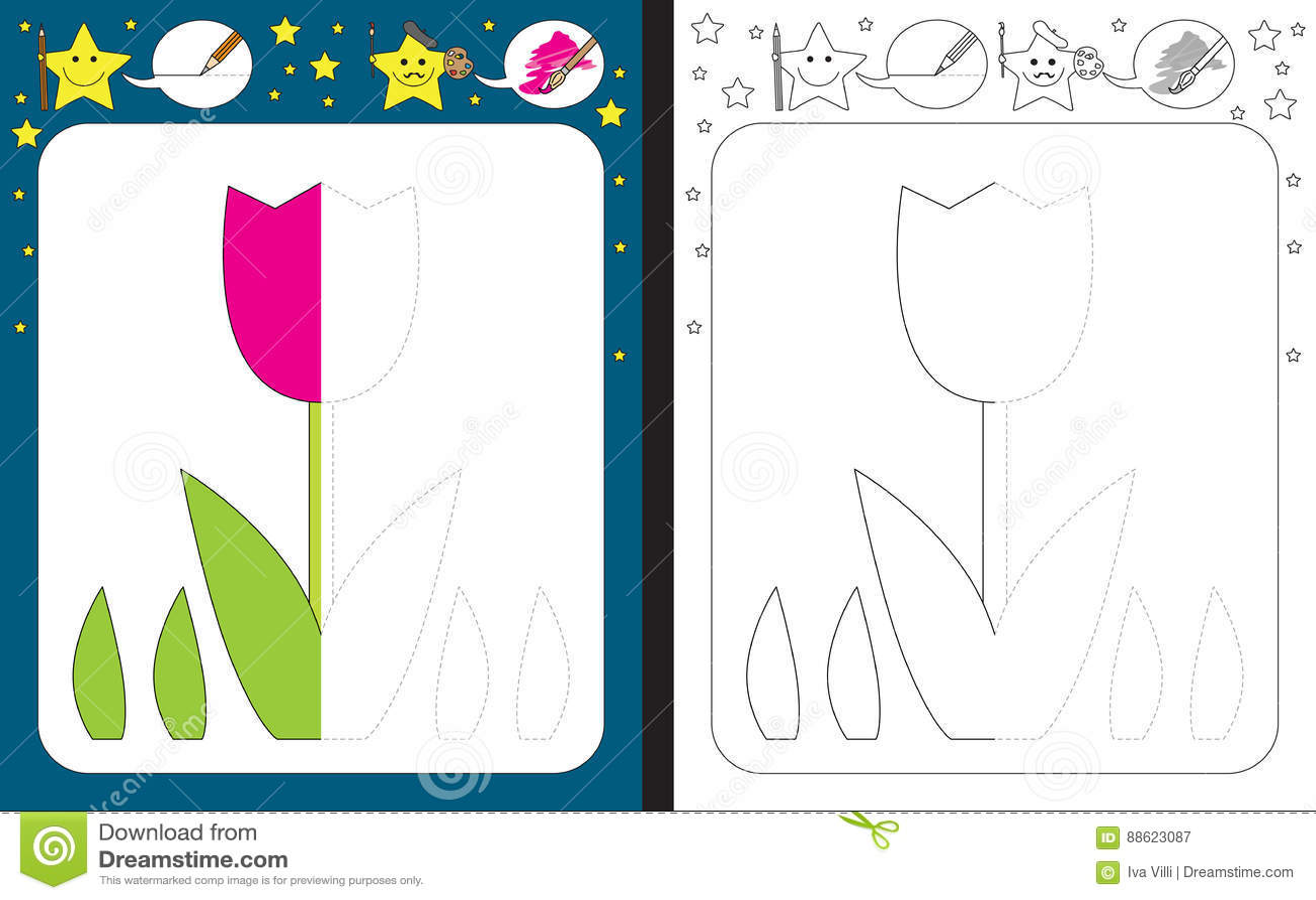 Preschool Worksheet Stock Vector Image Of Contour Cartoon