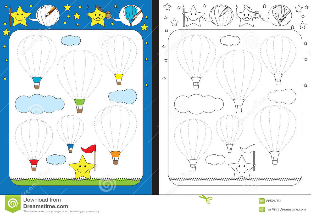 Preschool Worksheet Stock Vector Illustration Of Color