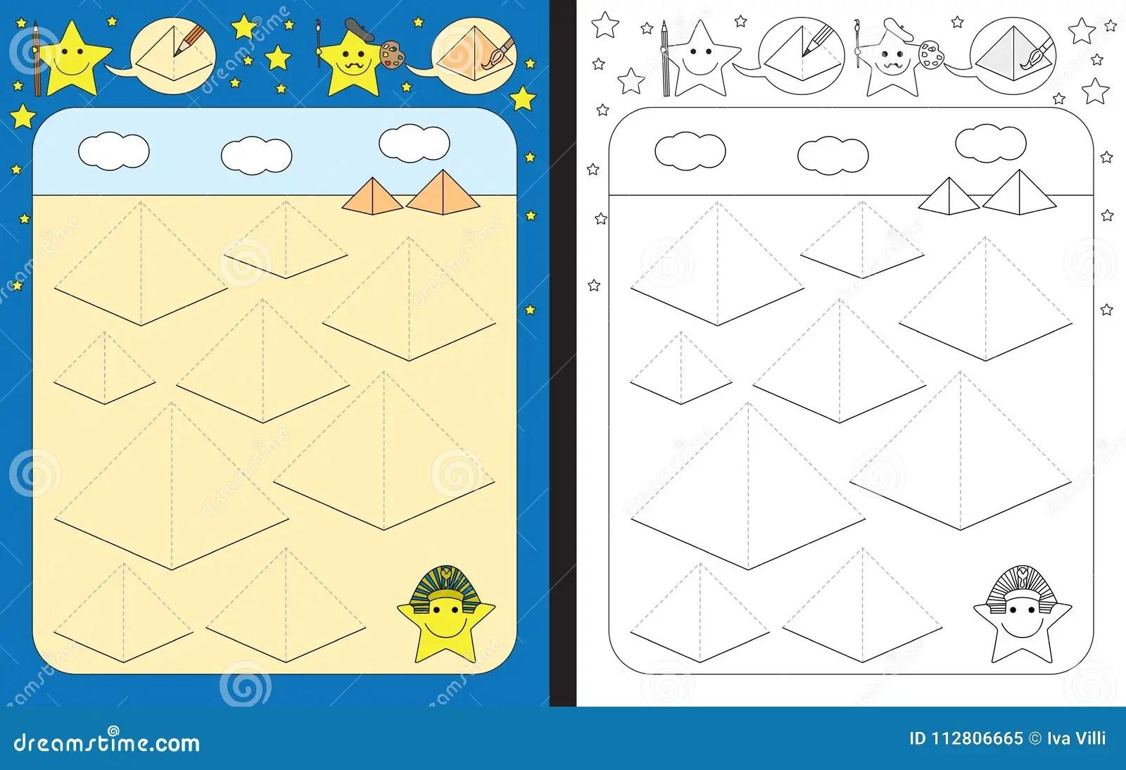 Preschool Worksheet Stock Vector Illustration Of Dashed