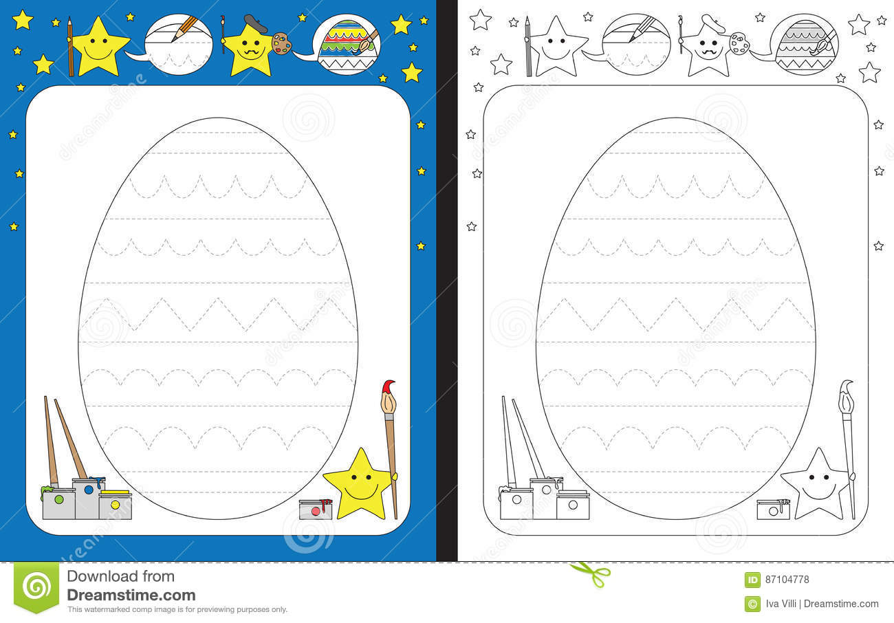Preschool Worksheet Stock Vector Illustration Of Contour