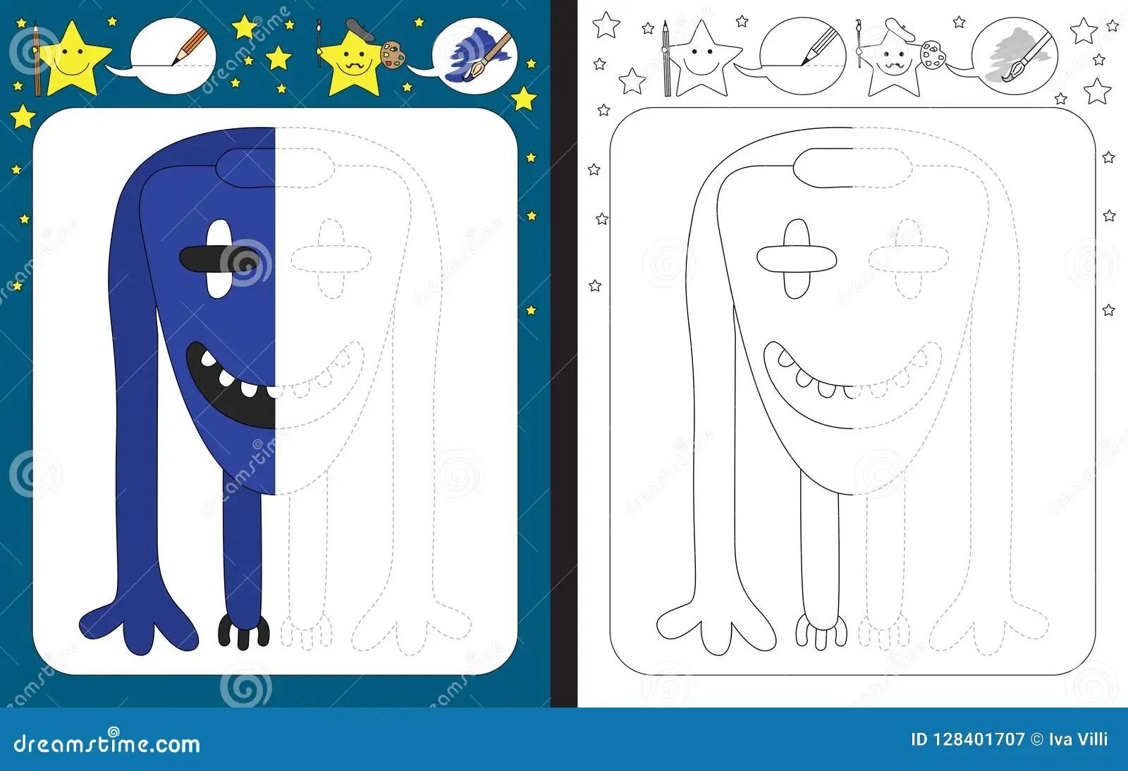 Preschool Worksheet Stock Vector Illustration Of Monster