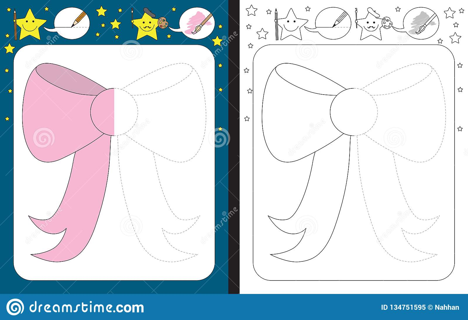 Preschool Worksheet Stock Vector Illustration Of Dashed