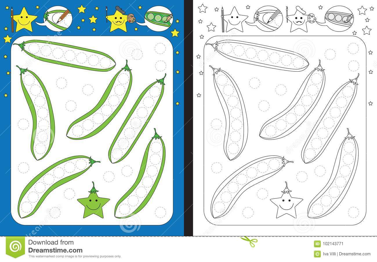 Preschool Worksheet Stock Vector Illustration Of Green