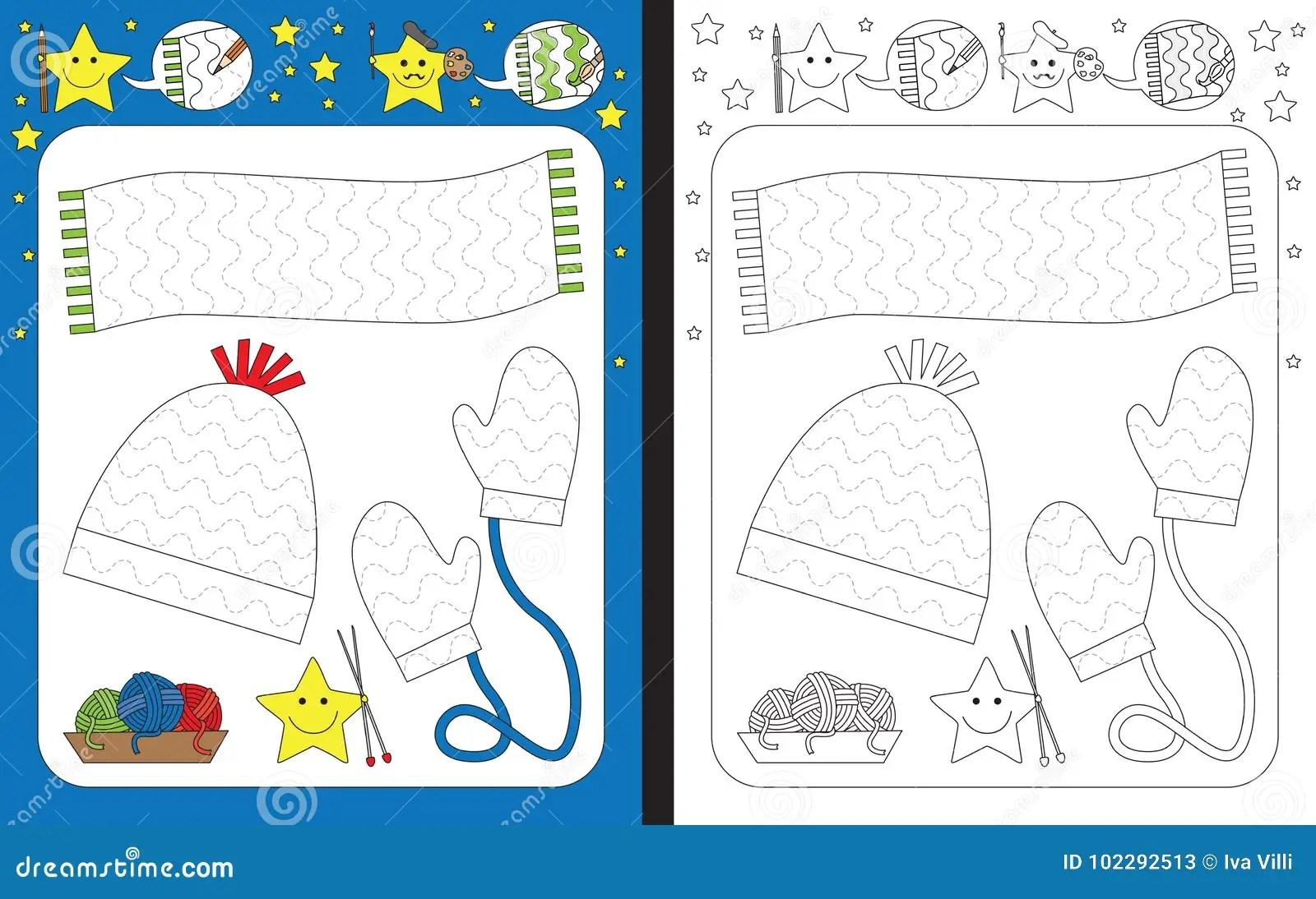 Preschool Worksheet Stock Vector Illustration Of Outlined