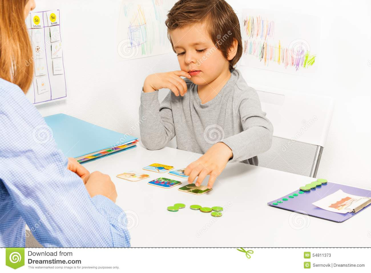 Preschooler Boy And Developing Game With Card Stock Image