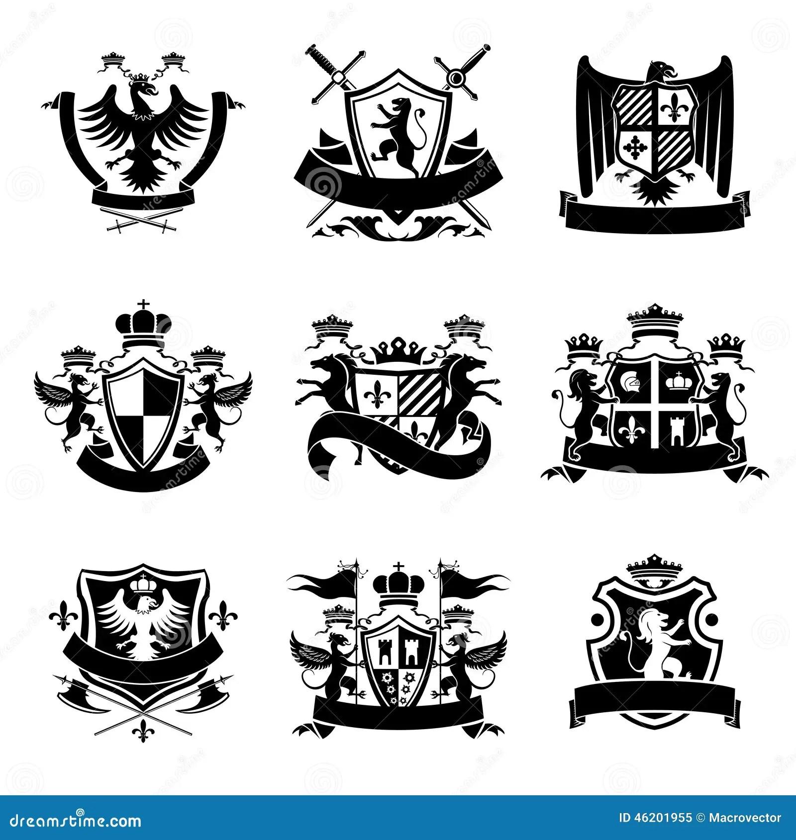 Preto Heraldico Dos Emblemas Ilustracao Do Vetor