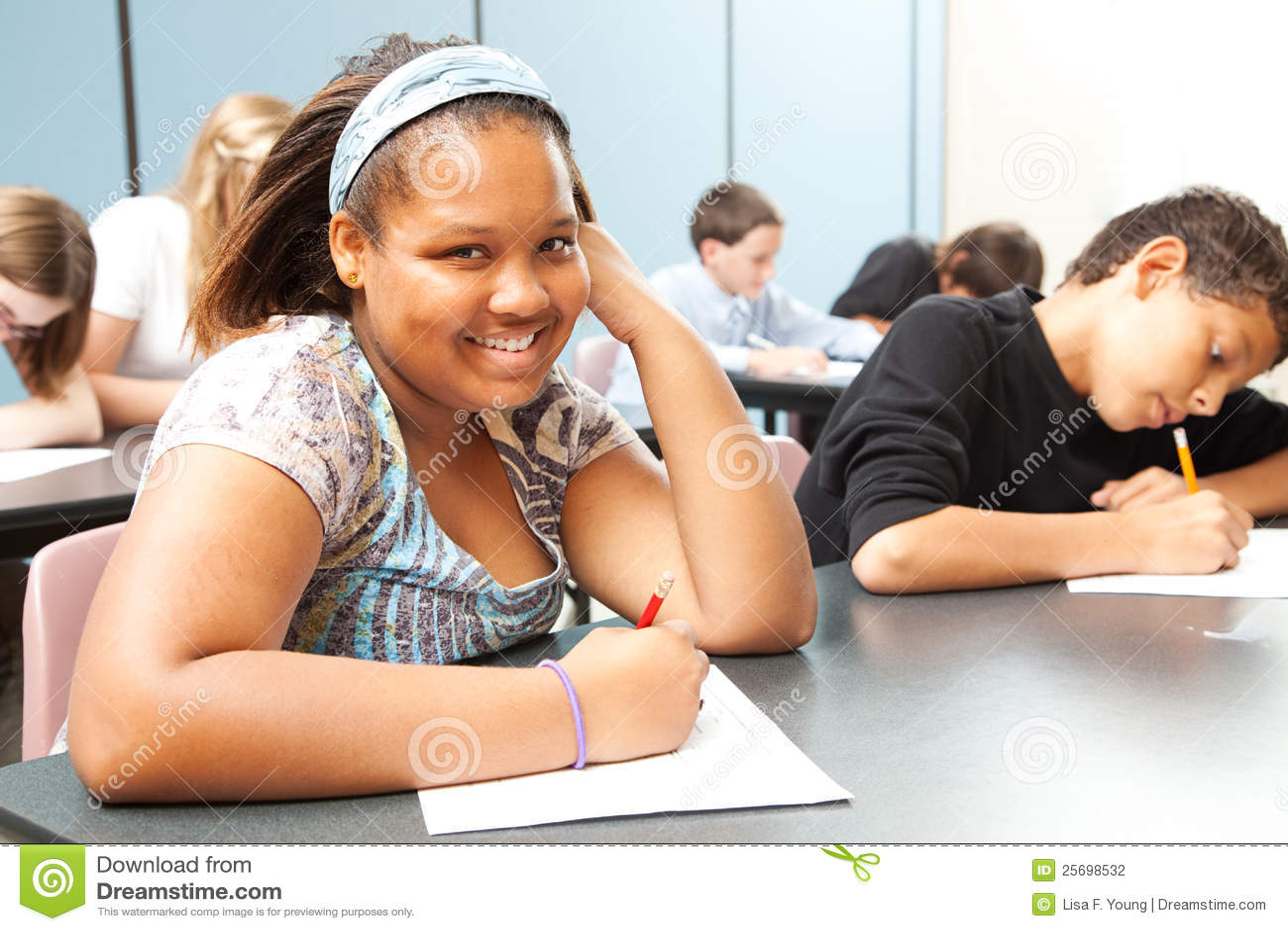Pretty African American Teen In Class Stock Photo