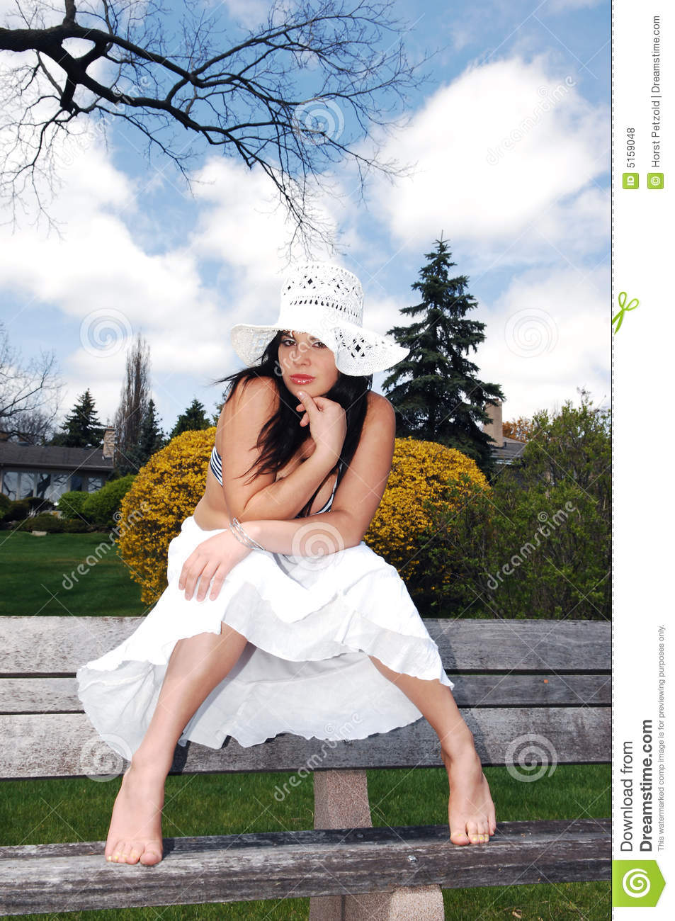 Pretty Girl Sitting On The Bench Stock Photo Image 5159048
