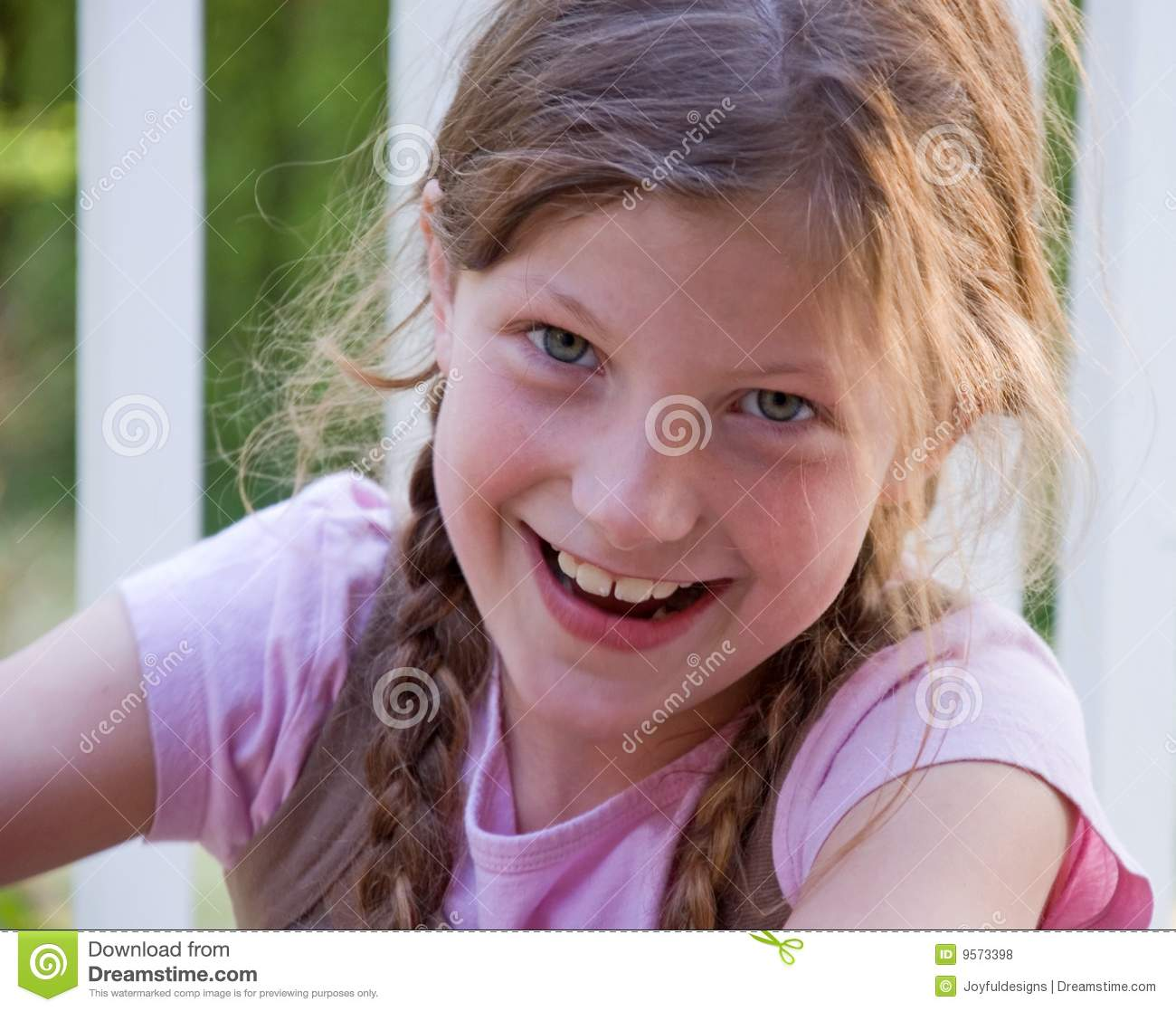Pretty Smilng 8 Year Old Girl Stock Photo