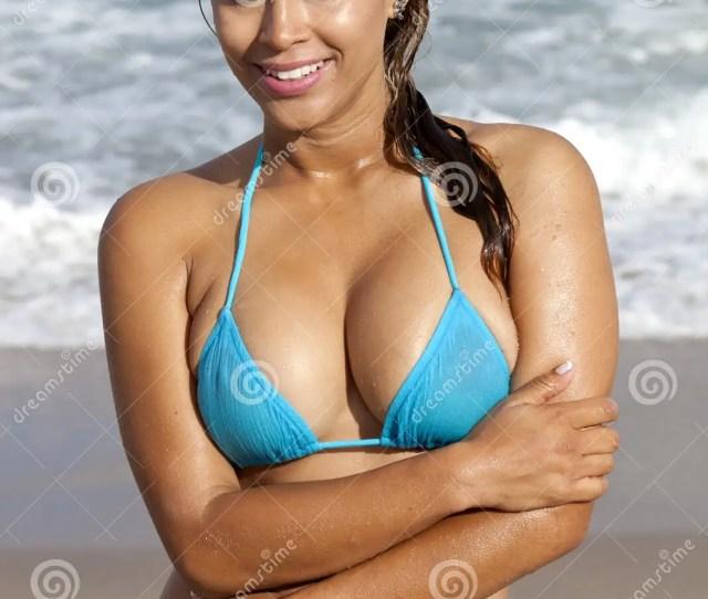 Pretty Woman In A Wet Light Blue Bikini