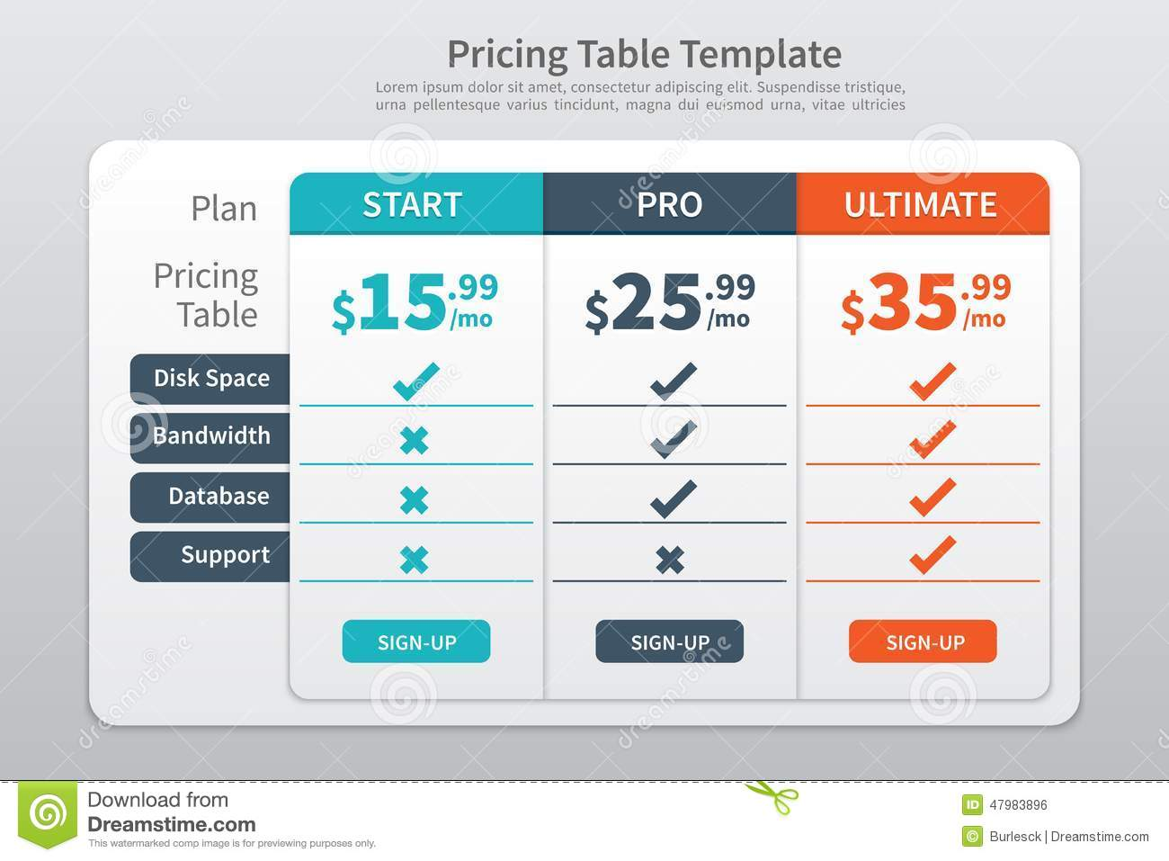 Pricing Table Template Graphic Design Stock Vector