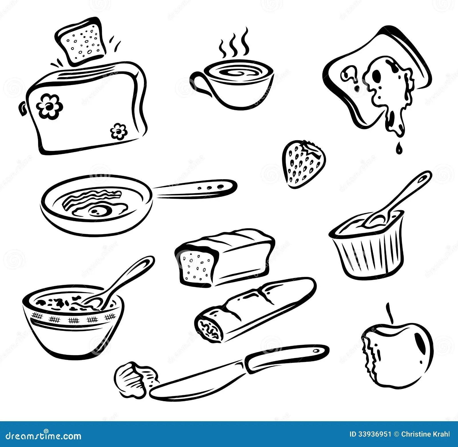 Prima Colazione Alimento Illustrazione Vettoriale