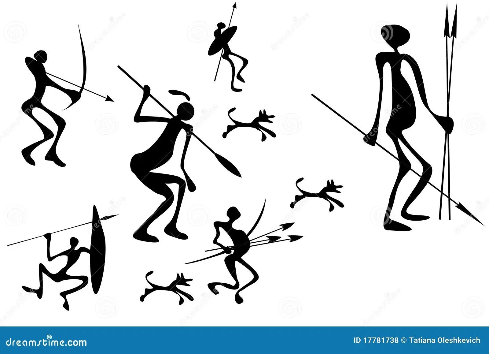 Primitive Hunter S Figures Stock Illustration Image Of