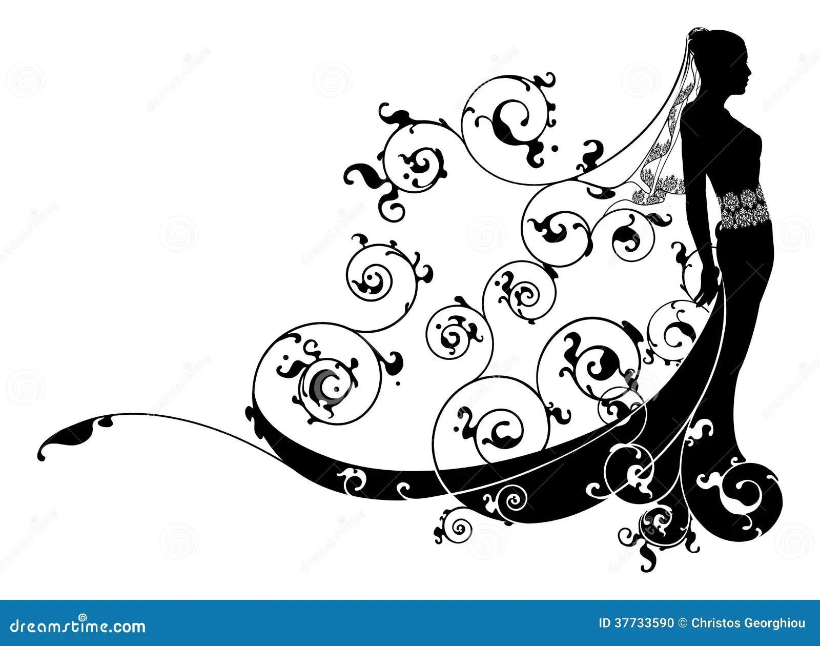 Princess Bride Wedding Dress Concept Stock Vector
