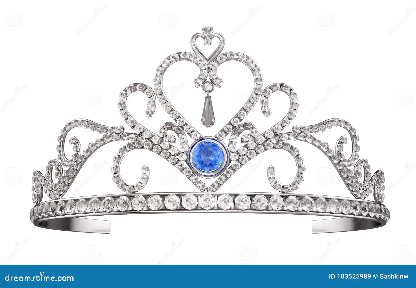Princess Diadem Tiara Isolated On White Stock