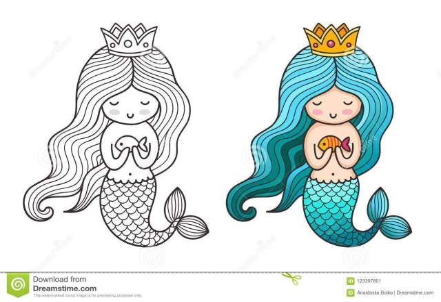 Princesse Mermaid Personnage De Dessin Animé Mignon Illustration