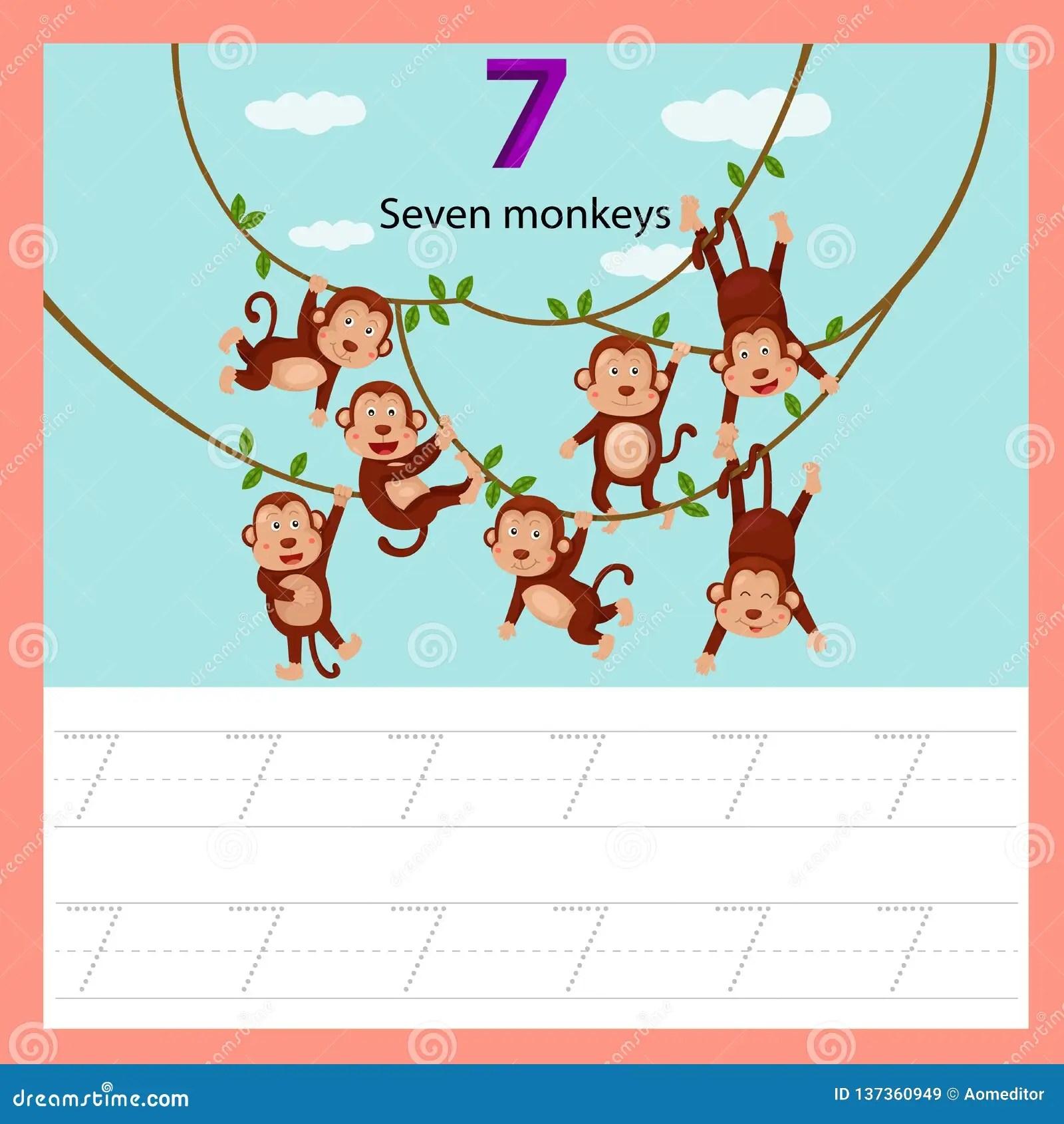 Illustrator Of Worksheet Seven Monkey Stock Vector