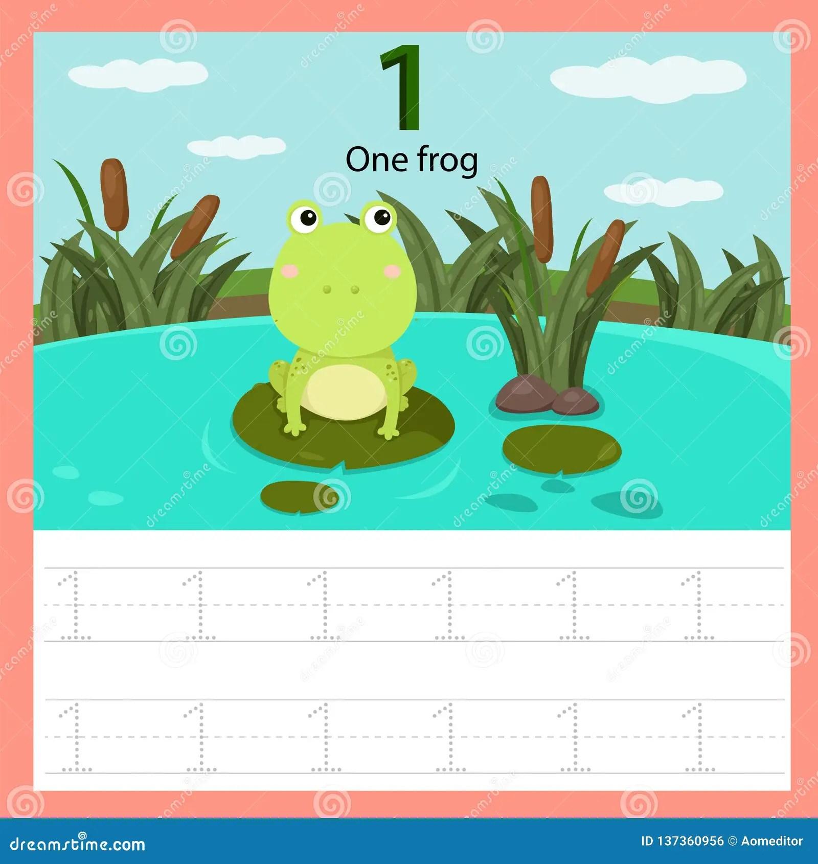 Illustrator Of Worksheet One Frog Stock Vector