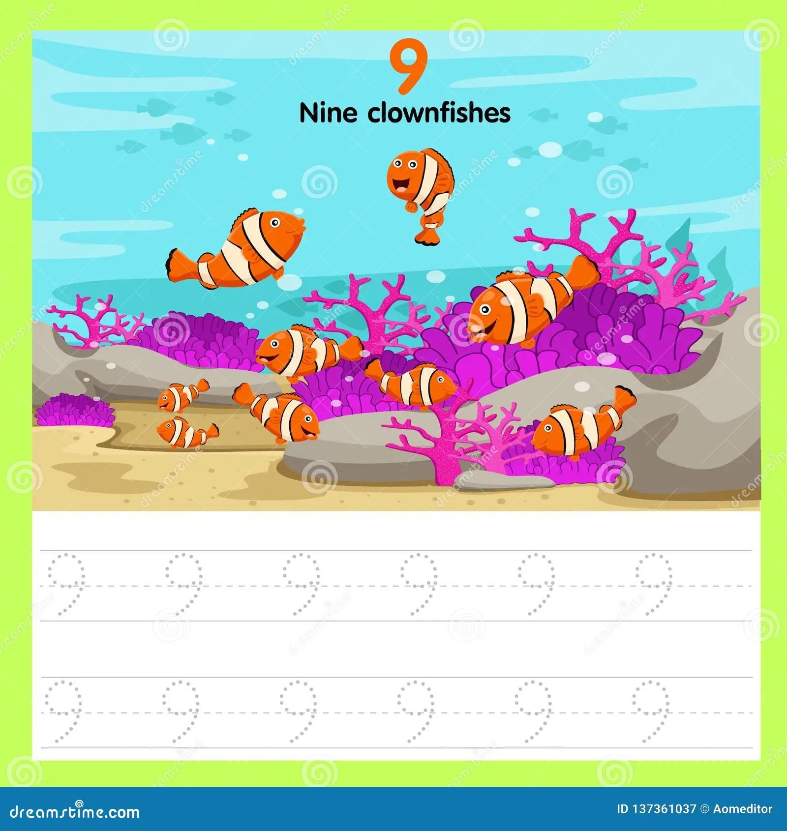 Illustrator Of Worksheet Nine Clown Fishes Stock Vector