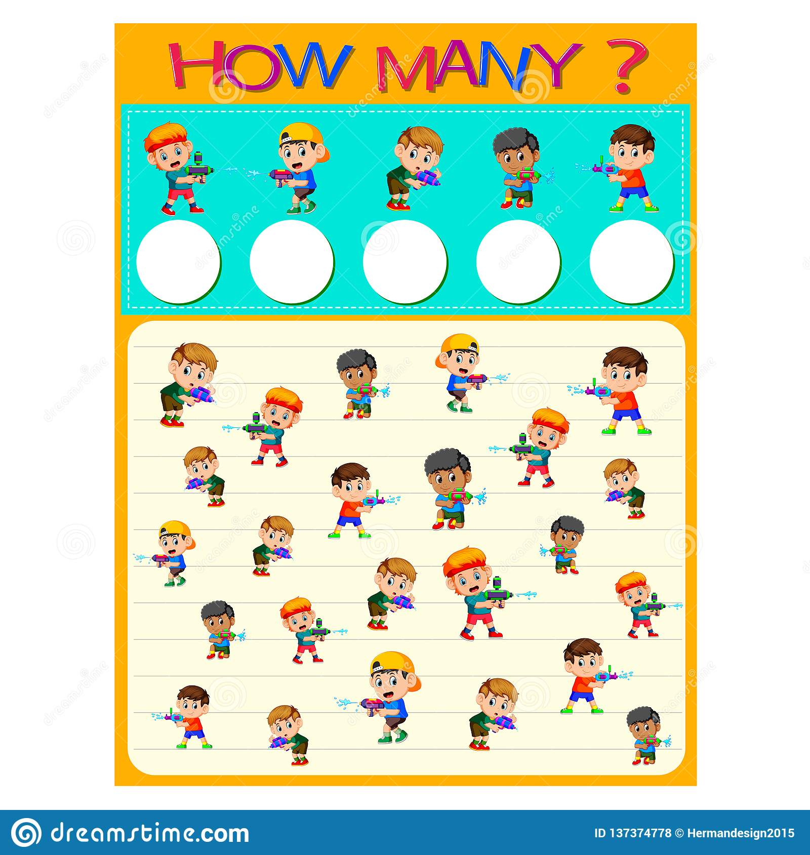 How Many Worksheet With Many Kids Stock Vector