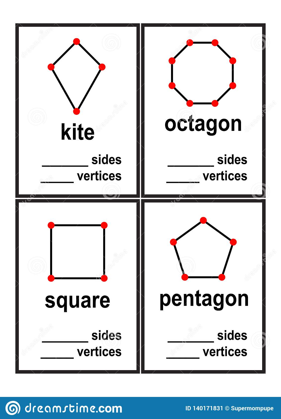 Count Sides And Vertices Shapes Worksheet For Preschool
