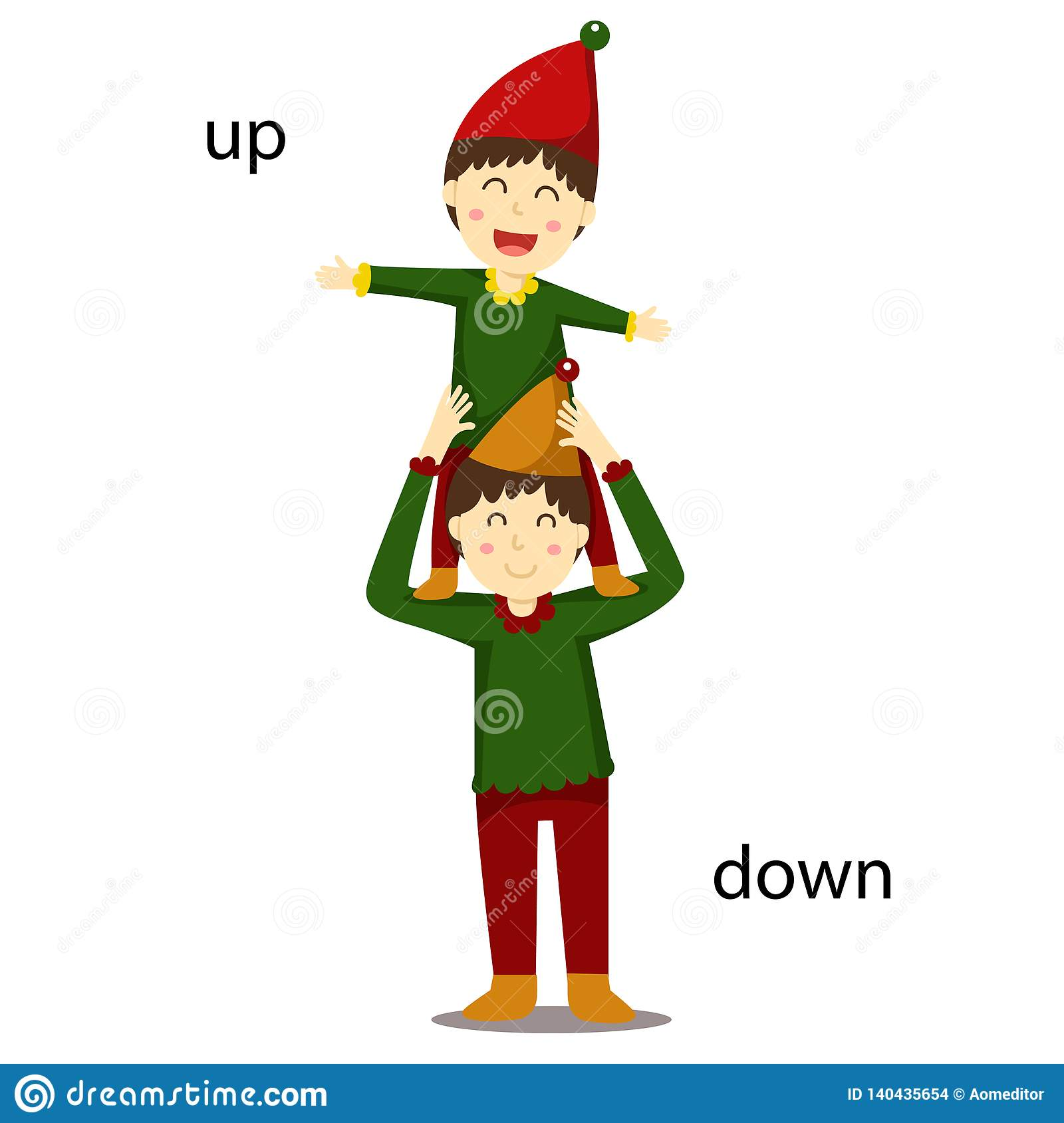Illustrator Of Opposite Up And Down Stock Vector