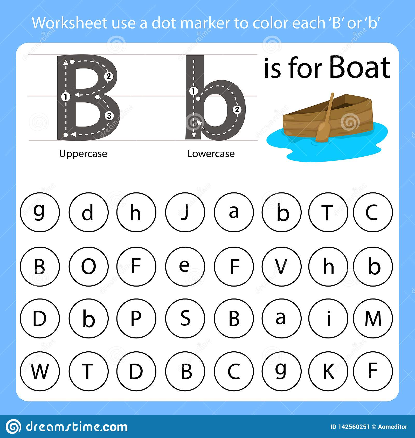 Worksheet Use A Dot Marker To Color Each B Stock Vector