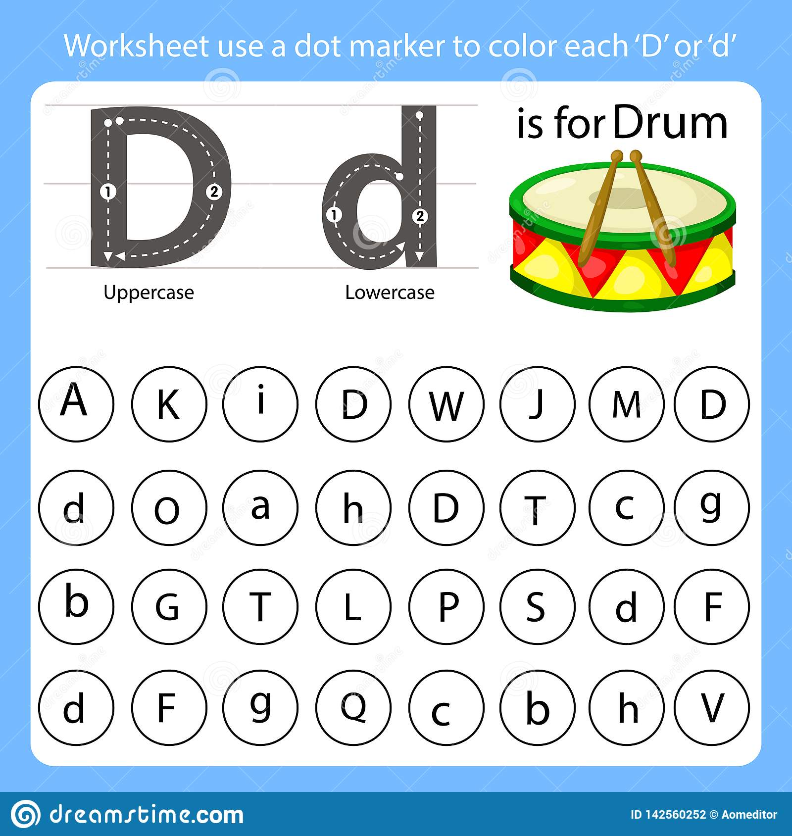 Worksheet Use A Dot Marker To Color Each D Stock Vector