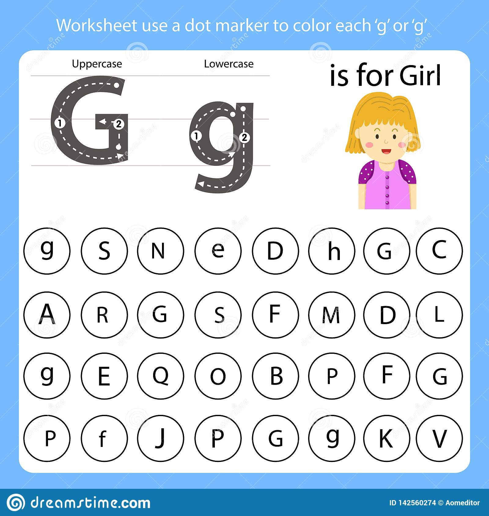 Worksheet Use A Dot Marker To Color Each G Stock Vector