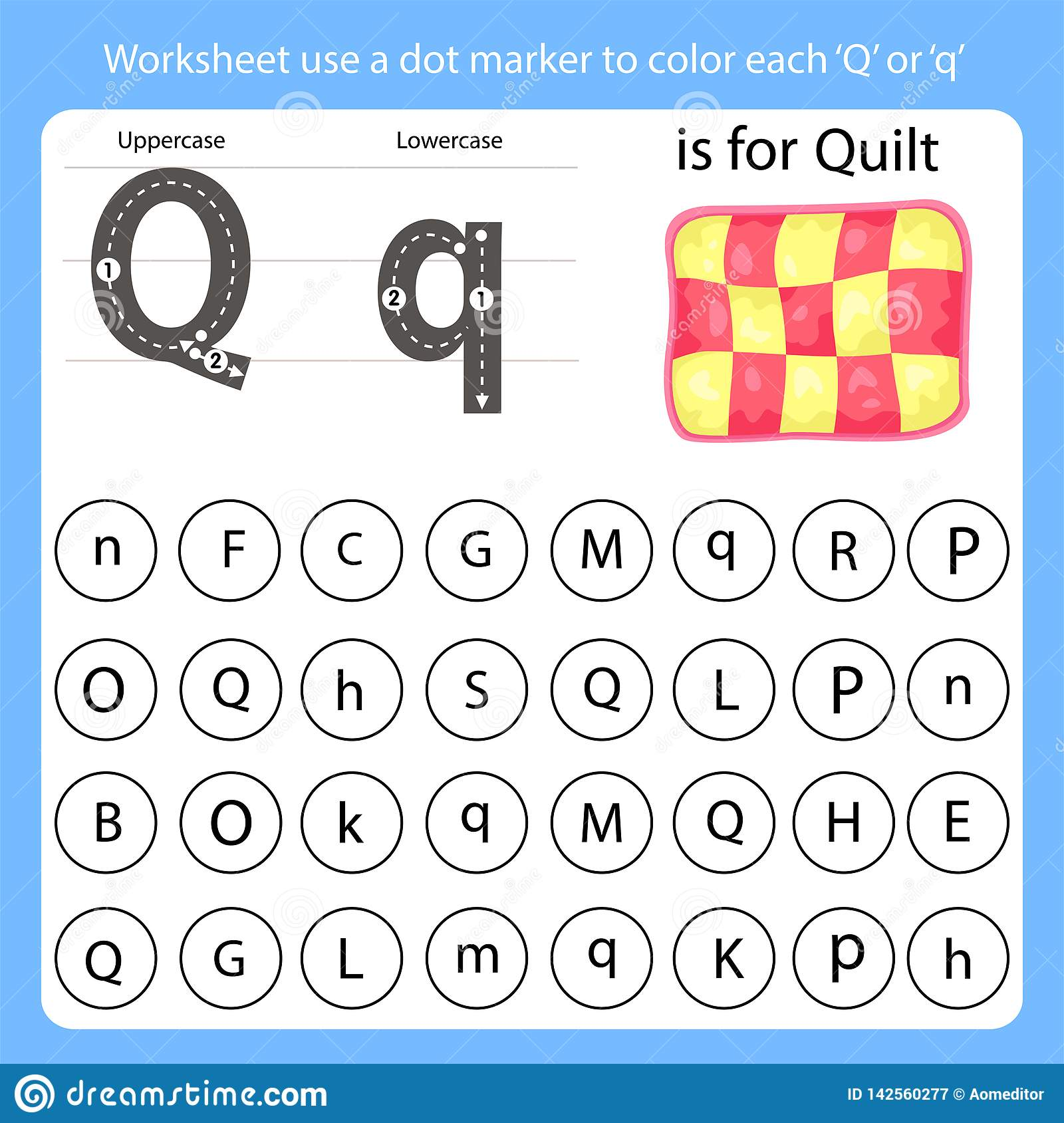 Worksheet Use A Dot Marker To Color Each Q Stock Vector