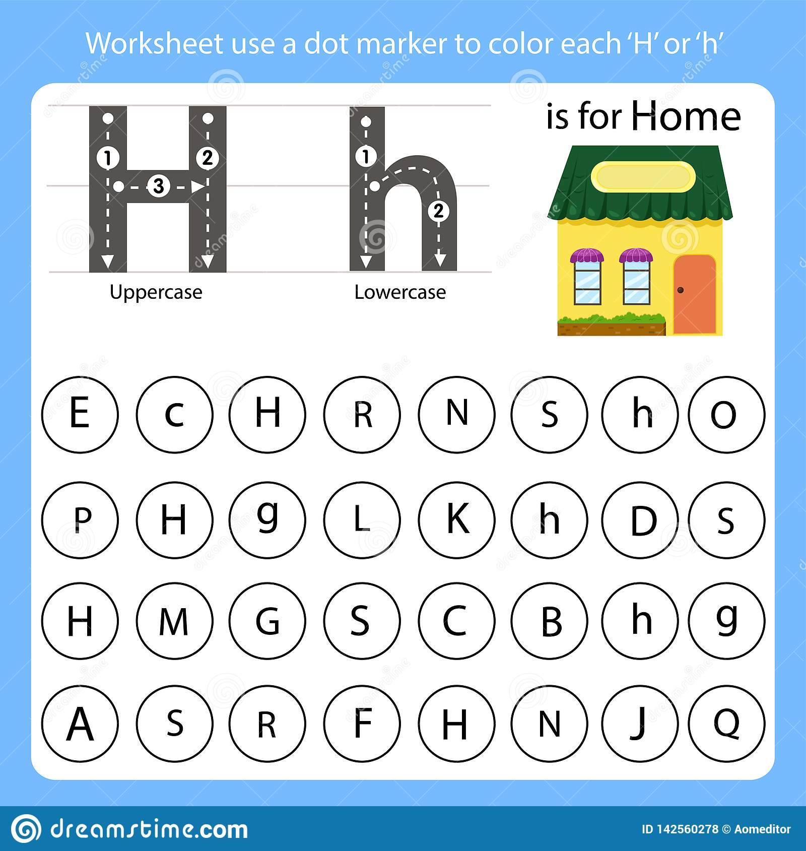 Worksheet Use A Dot Marker To Color Each H Stock Vector