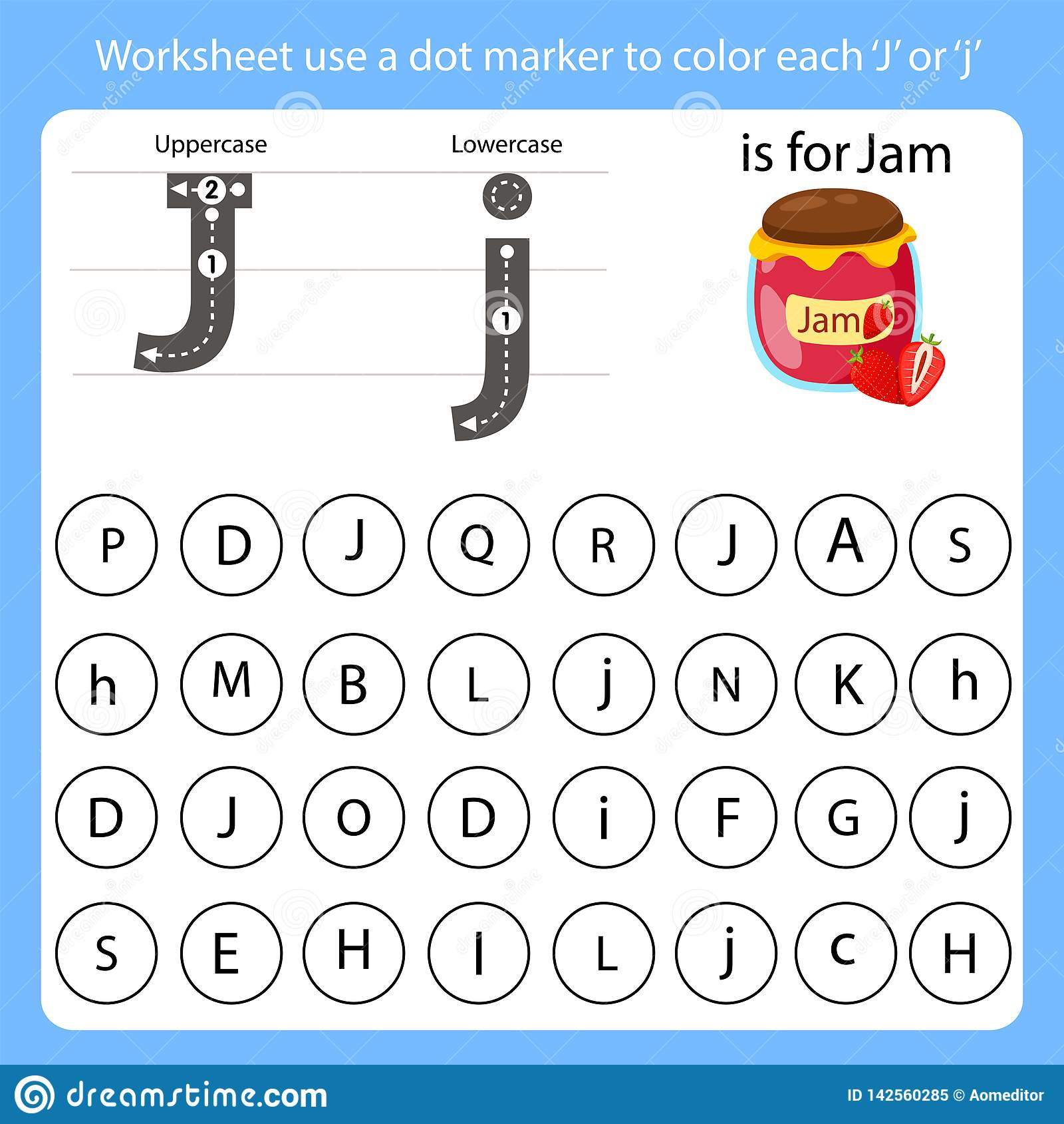 Worksheet Use A Dot Marker To Color Each J Stock Vector