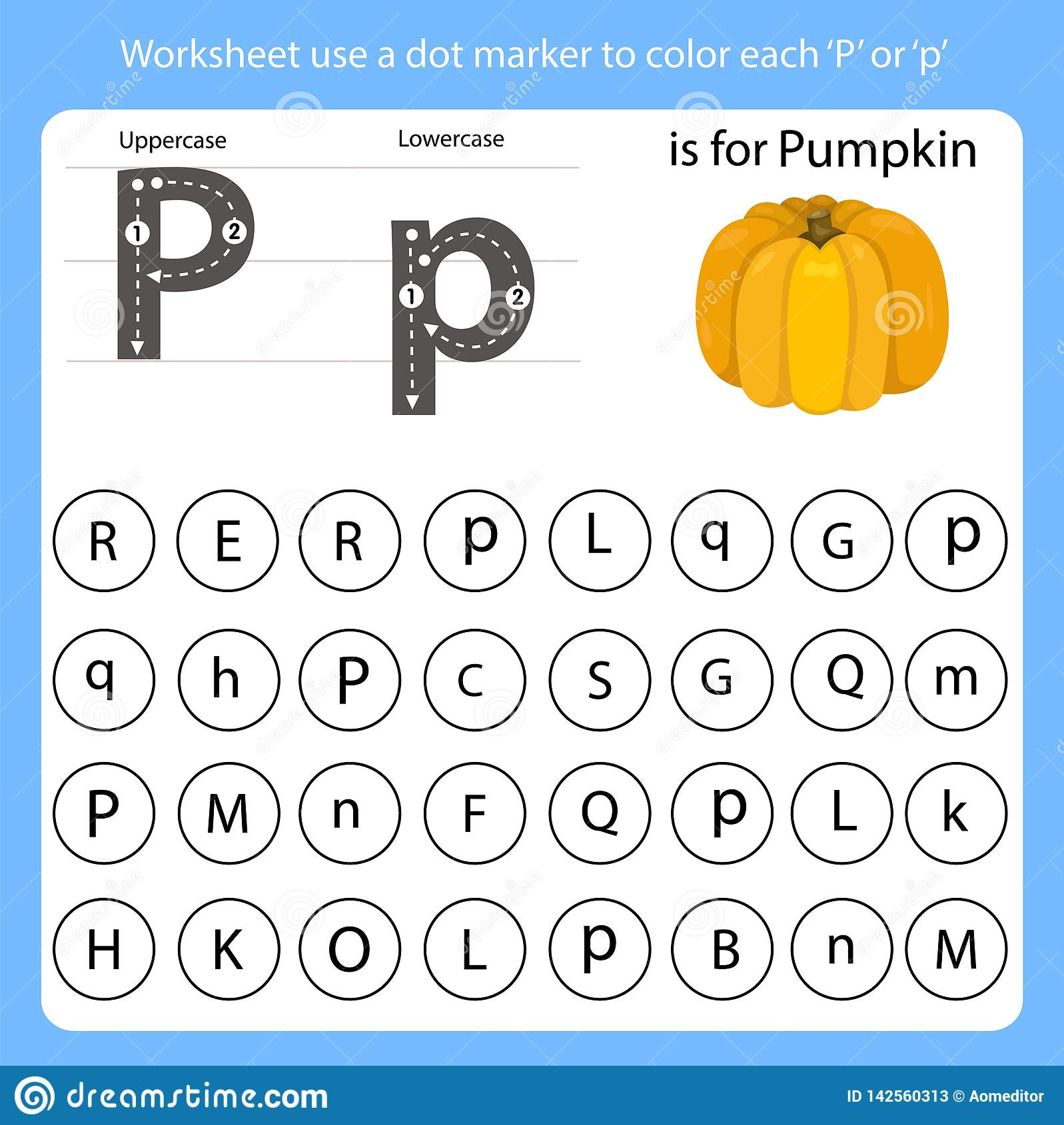Worksheet Use A Dot Marker To Color Each P Stock Vector