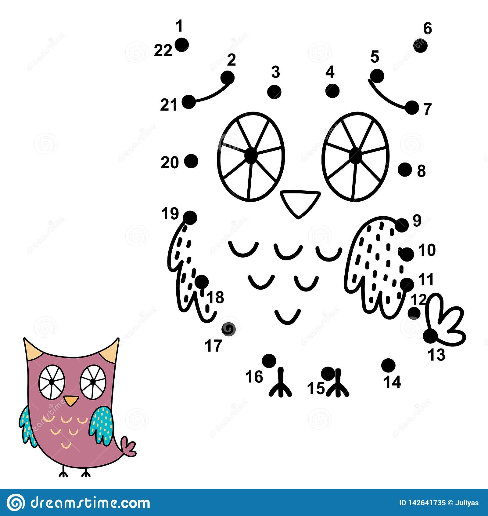 Connect The Dots And Draw A Cute Owl Numbers Game For