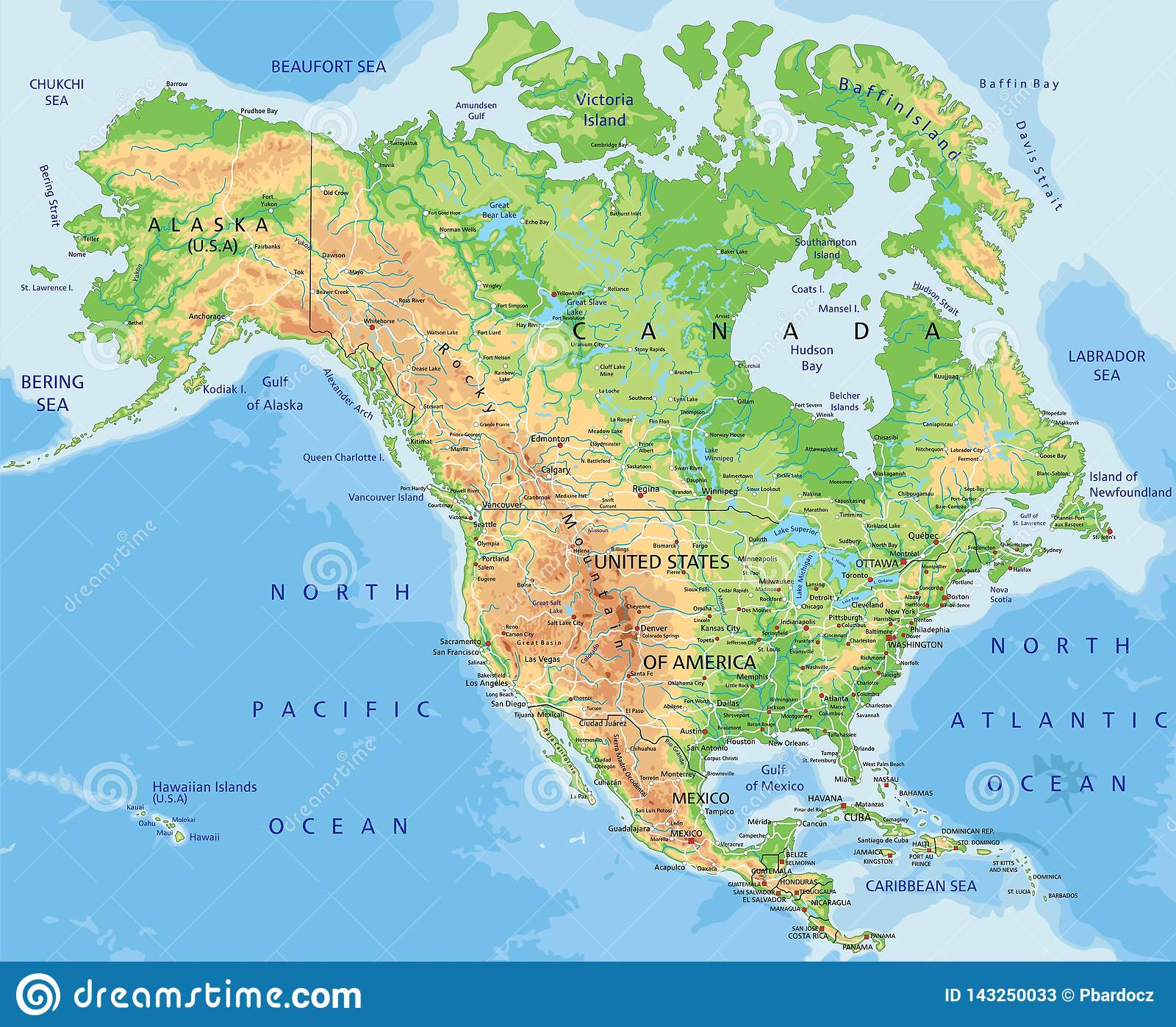 High Detailed North America Physical Map With Labeling