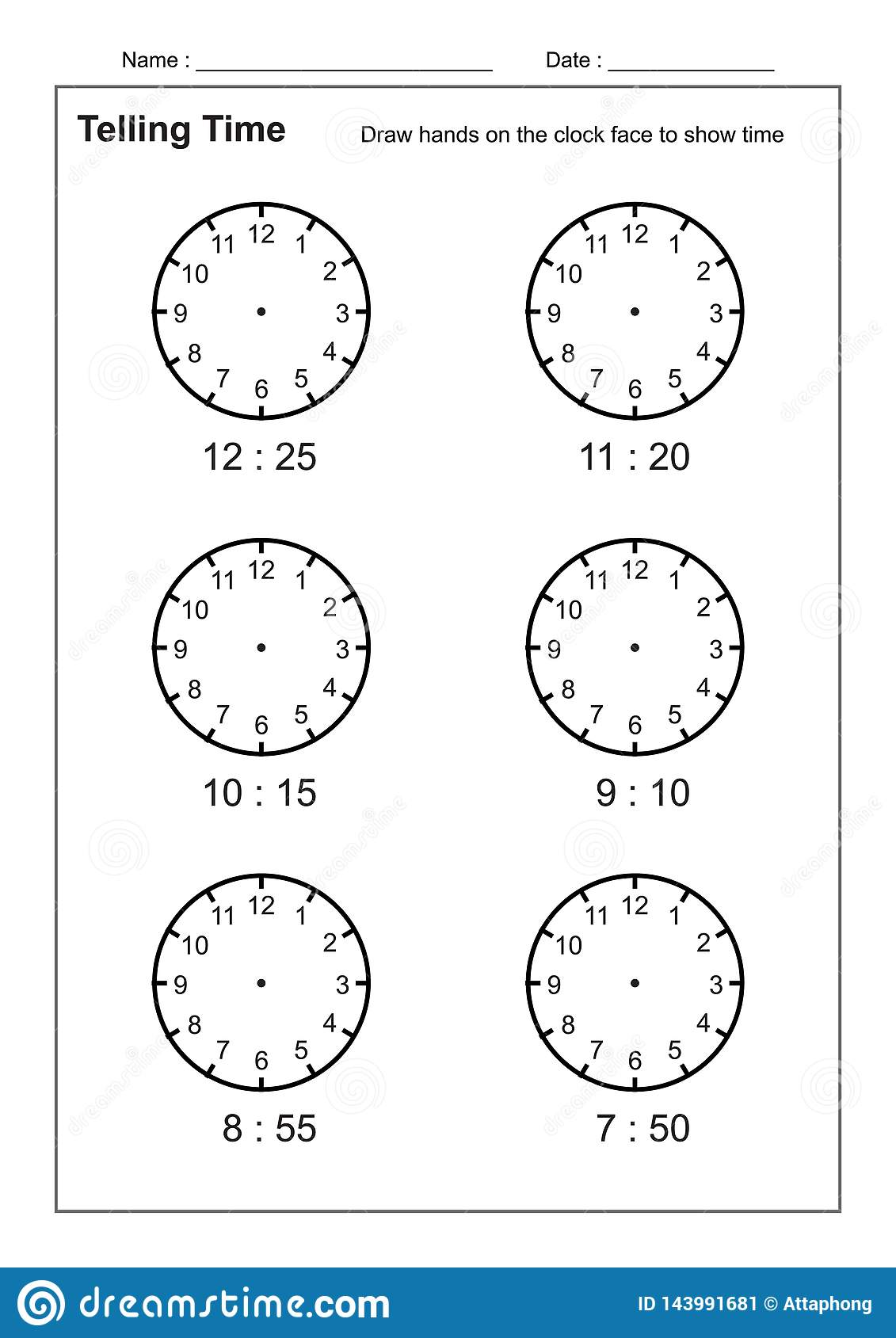 Telling Time Worksheet Write The Time Shown On The Clock