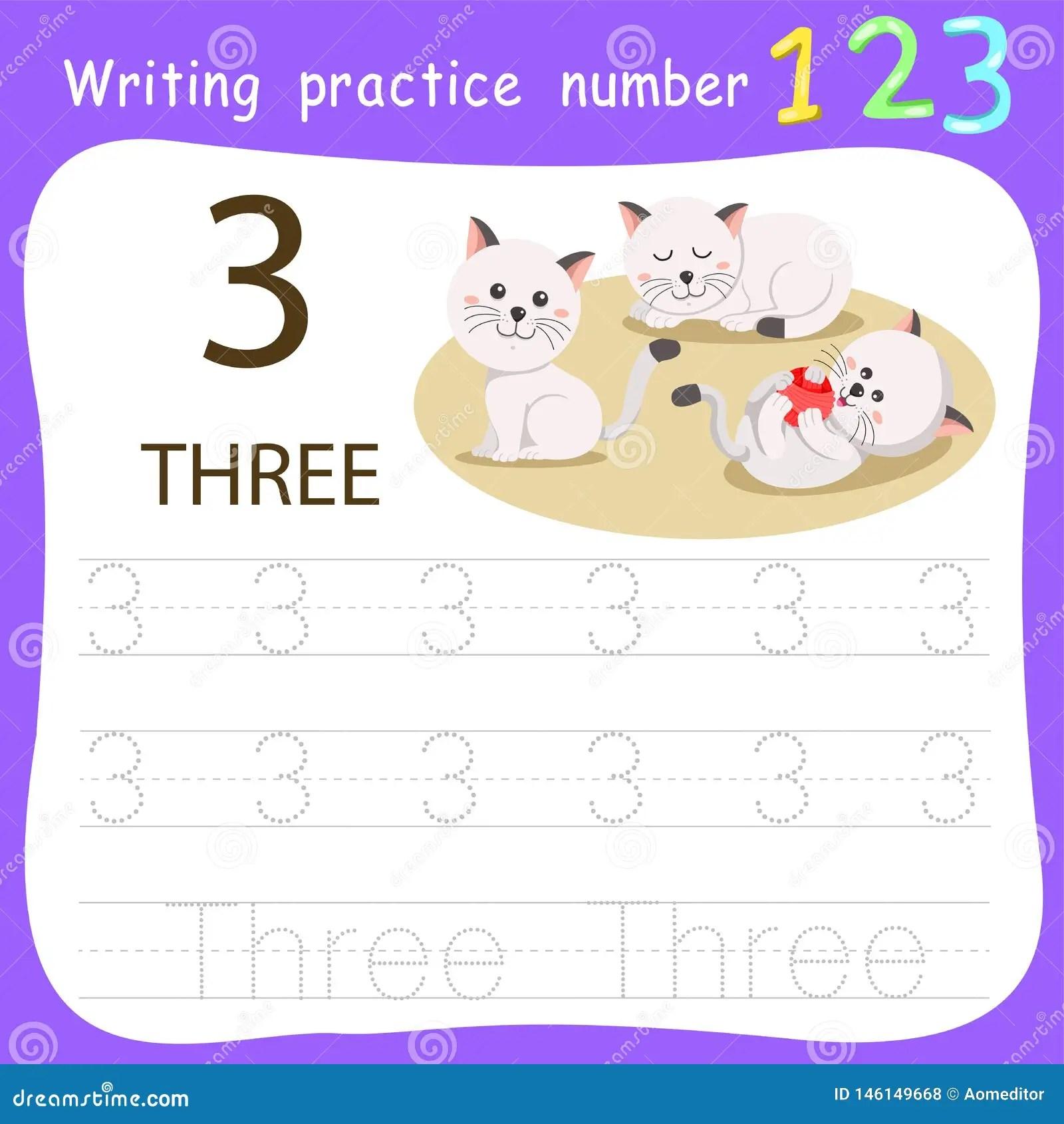 Worksheet Writing Practice Number Three Stock Vector