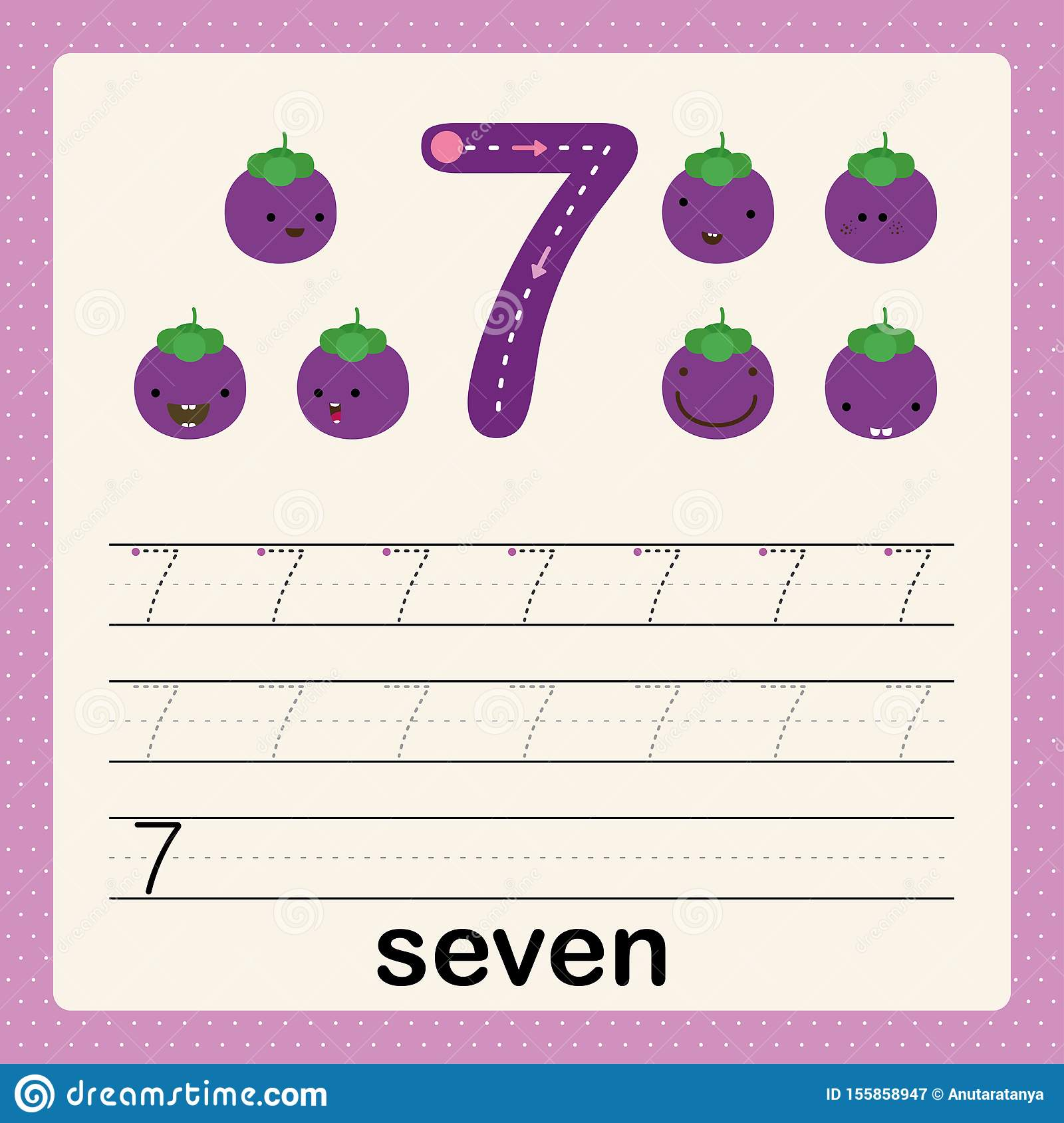 Number 7 Card For Kids Learning To Count And To Write