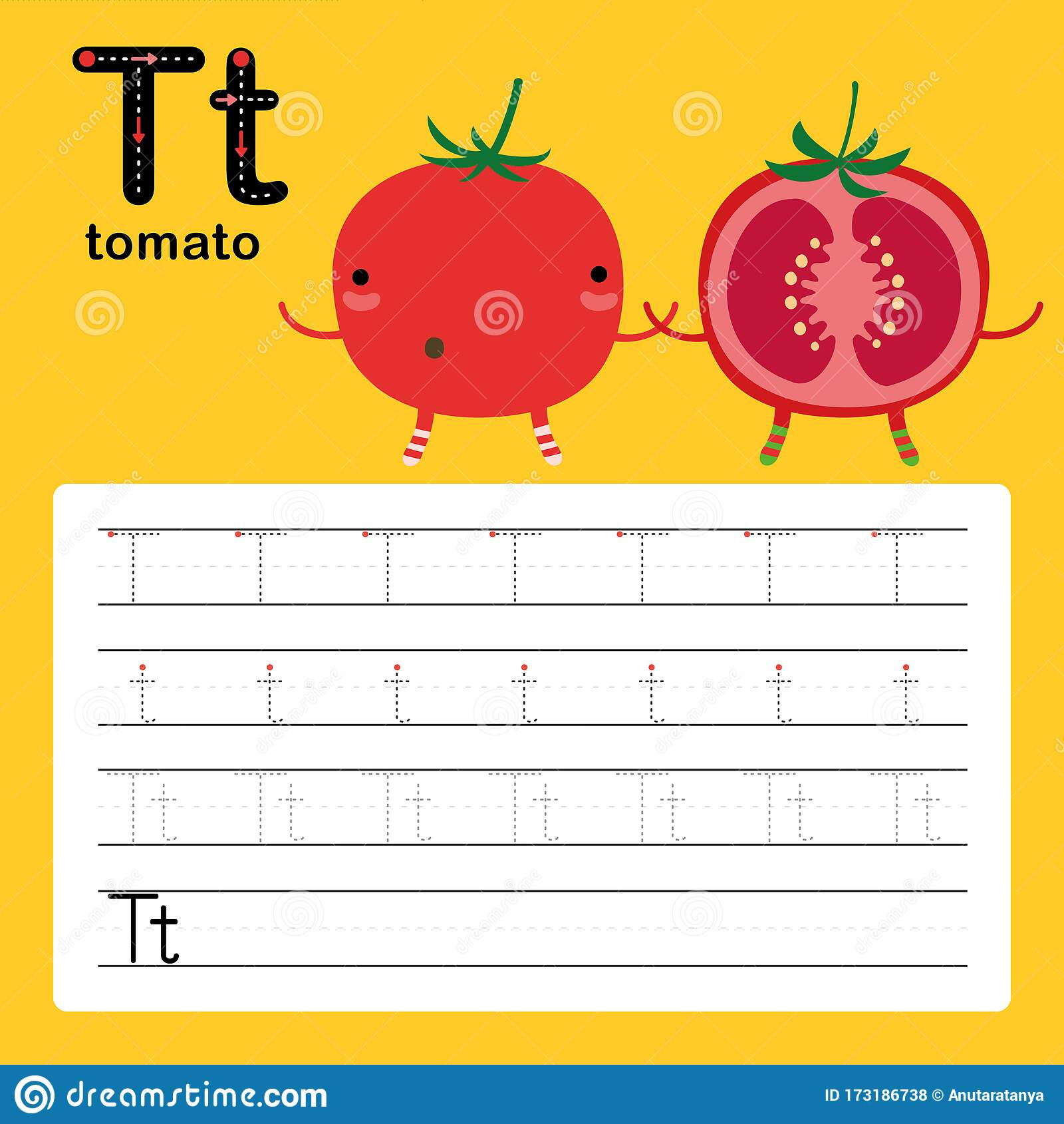 Alphabet Tracing Worksheet Cartoon Vector