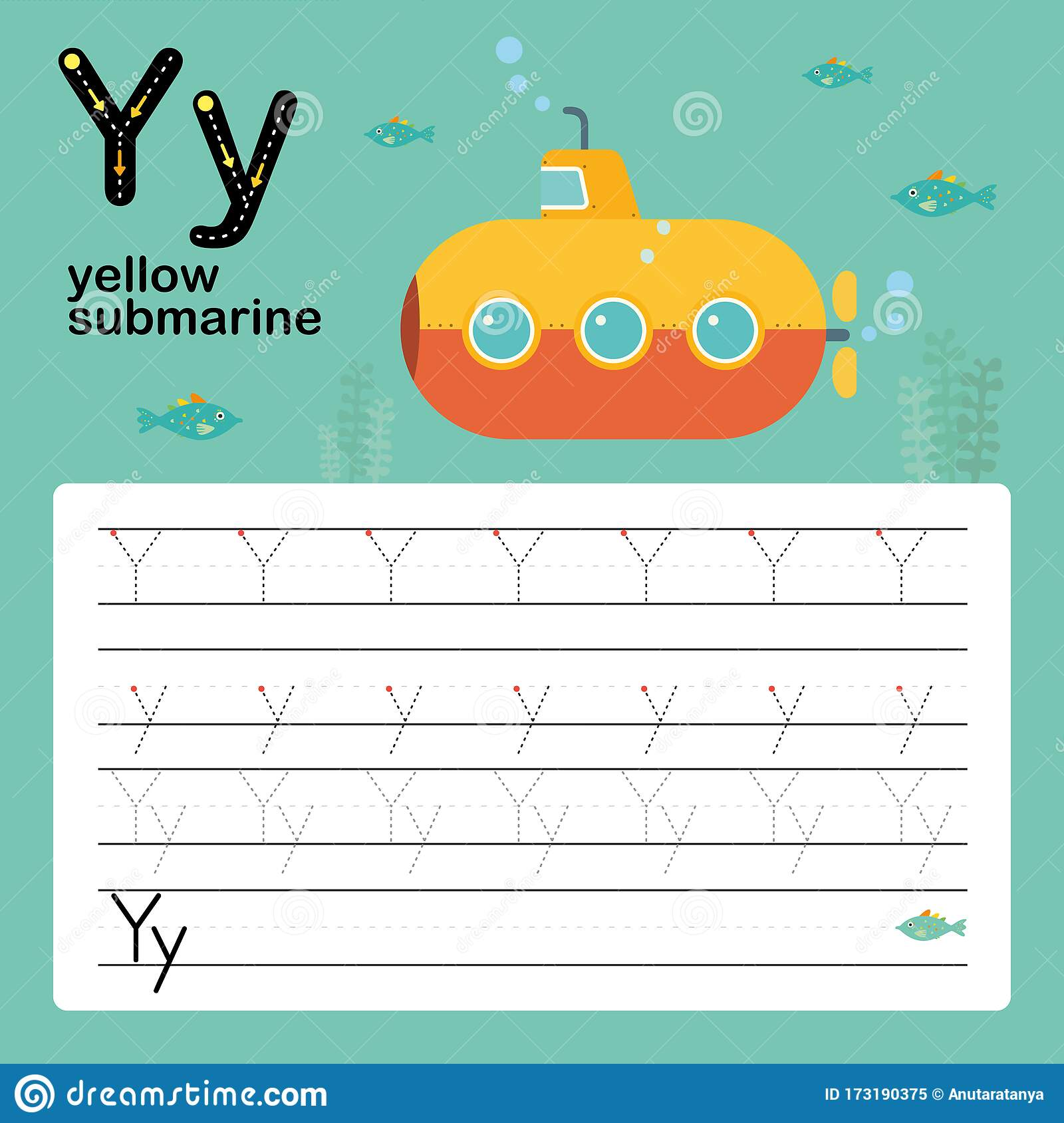 Letter Y Worksheet Vector Illustration