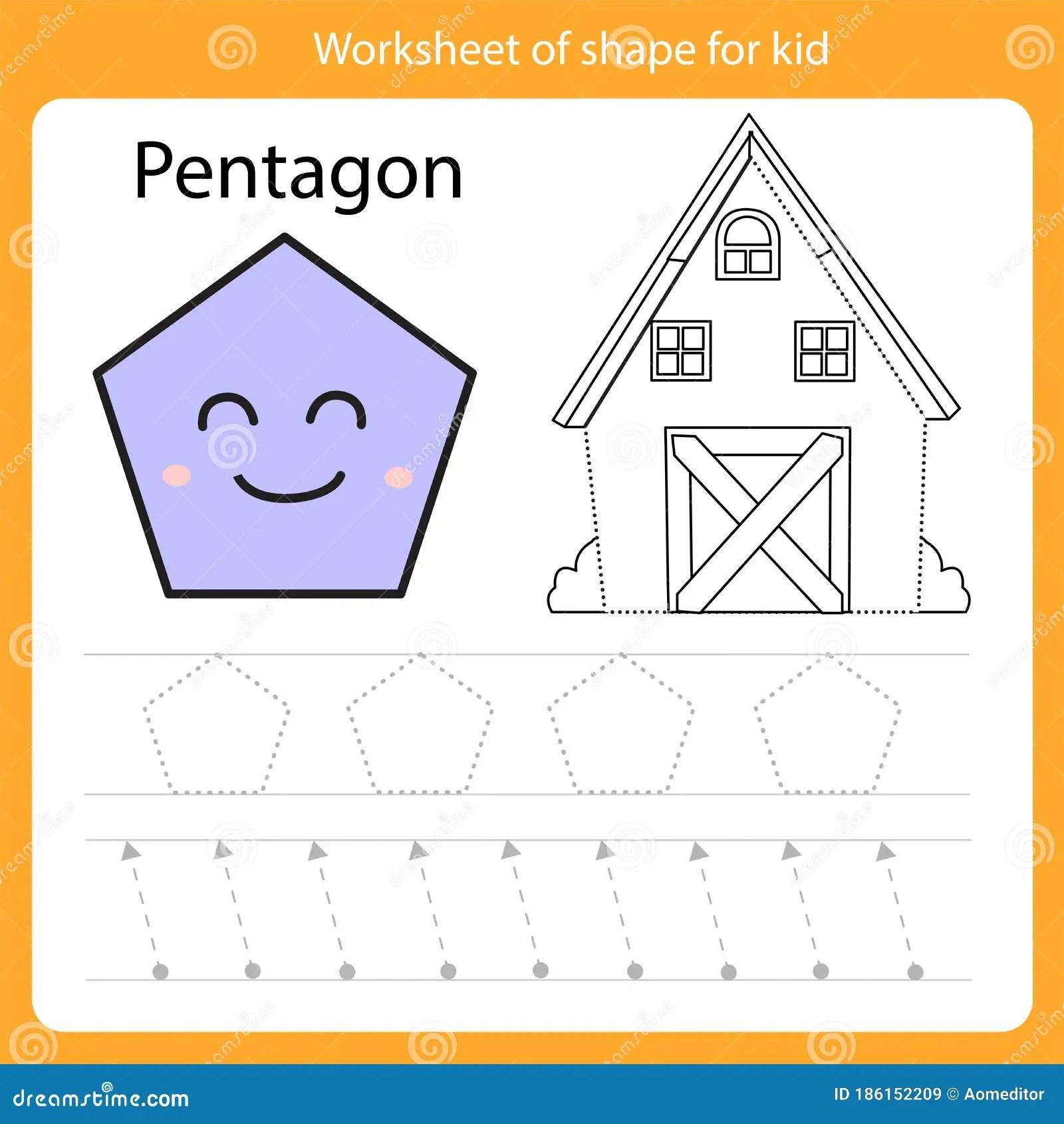 Illustrator Of Worksheet Of Shape For Kid Pentagon Stock