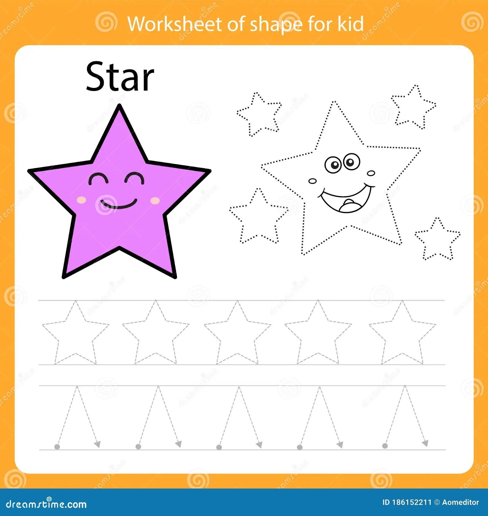 Illustrator Of Worksheet Of Shape For Kid Star Stock